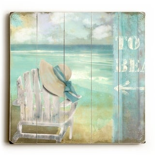 To Beach - Chair -   Planked Wood Wall Decor by ArtLicensing