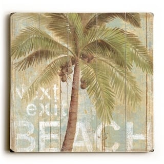 Next Exit Beach - Palm Tree - Planked Wood Wall Decor by ArtLicensing
