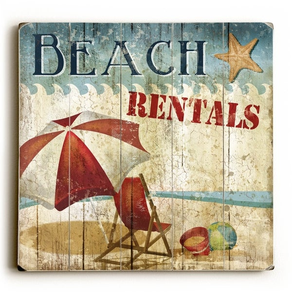 Beach Rentals - Planked Wood Wall Decor by ArtLicensing