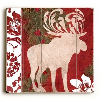 Christmas Moose -   Planked Wood Wall Decor by ArtLicensing