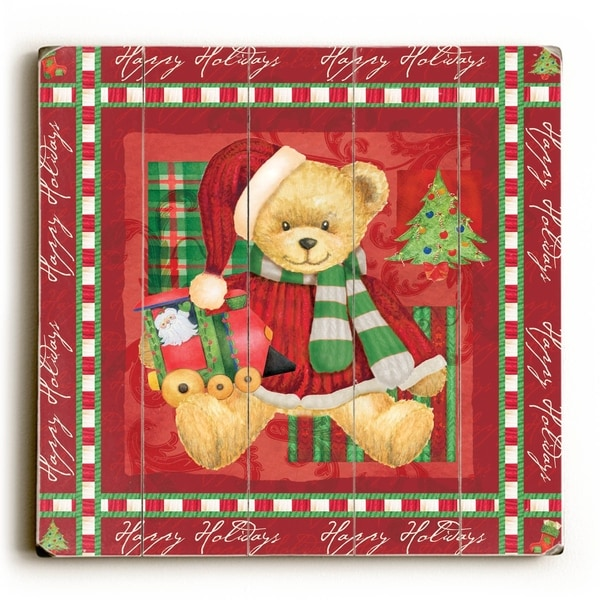 Christmas Bear - Red - Planked Wood Wall Decor by ArtLicensing