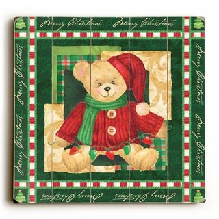 Christmas Bear - Green -   Planked Wood Wall Decor by ArtLicensing