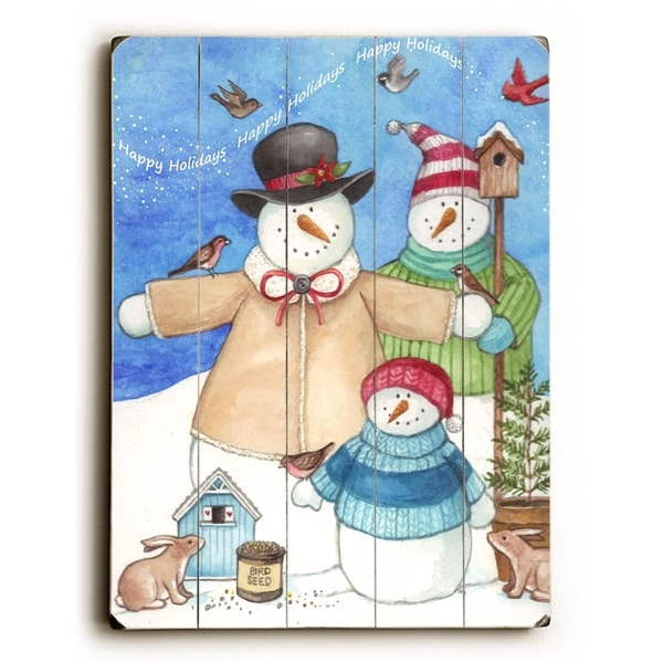 Snowman Family - Planked Wood Wall Decor by ArtLicensing