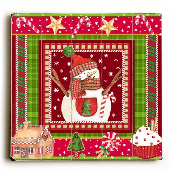 Christmas Snowman - Planked Wood Wall Decor by ArtLicensing