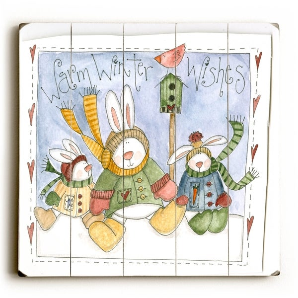 Warm Winter WIshes - Planked Wood Wall Decor by ArtLicensing
