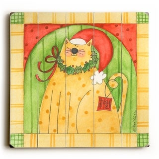 Christmas Kitty -   Planked Wood Wall Decor by ArtLicensing