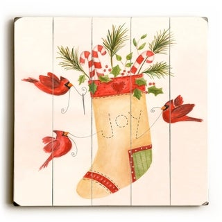 Joy Stocking -   Planked Wood Wall Decor by ArtLicensing