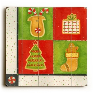 Reindeer Presents Tree and Stocking -   Planked Wood Wall Decor by ArtLicensing