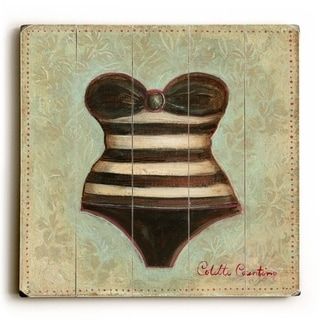 Stripped Bathing Suit -   Planked Wood Wall Decor by Colette Cosentino