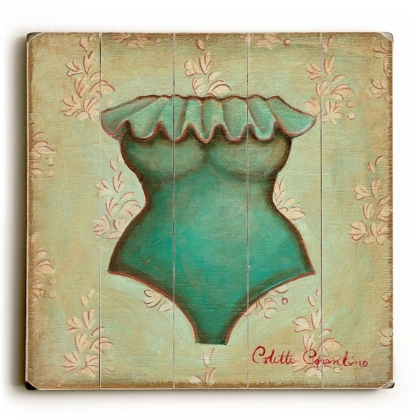 Turquoise Bathing Suit - Planked Wood Wall Decor by Colette Cosentino