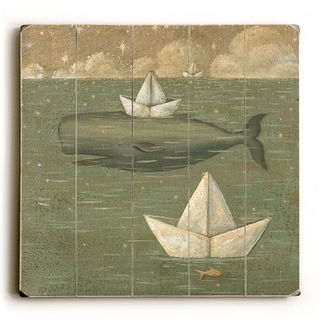 Whale Hats -   Planked Wood Wall Decor by Colette Cosentino