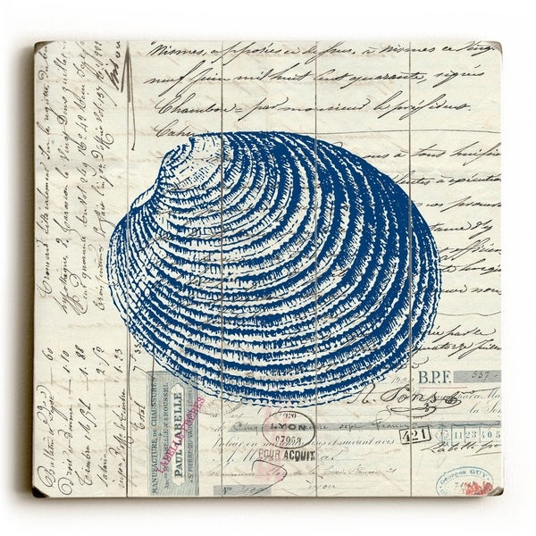 Shell II - Planked Wood Wall Decor by Brandi Fitzgerald