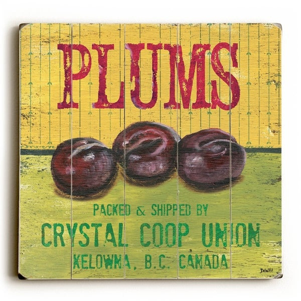 Plums - Planked Wood Wall Decor by Debbie DeWitt
