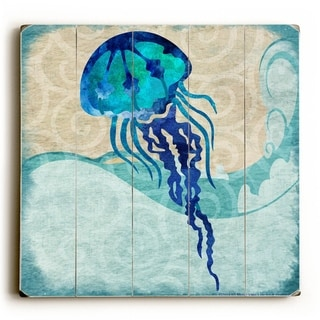 Jellyfish -   Planked Wood Wall Decor by Jill Meyer