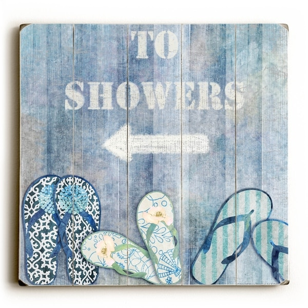 To the Shower - Planked Wood Wall Decor by Jill Meyer. Opens flyout.
