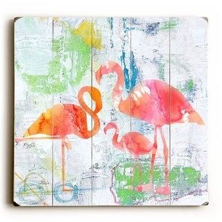 Flamingos -   Planked Wood Wall Decor by Jean Plout