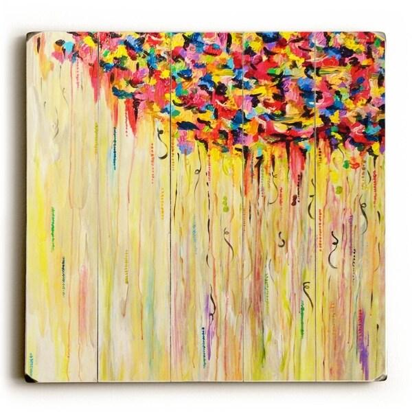 Raining Sunshine - Yellow Planked Wood Wall Decor by Julia DiSano