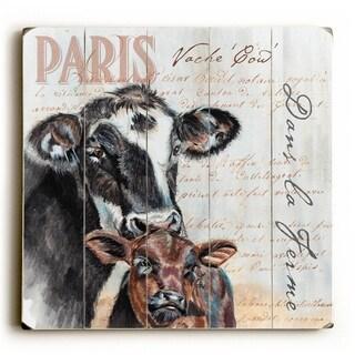 Dans La Ferme Cow -   Planked Wood Wall Decor by Jennifer Redstreake