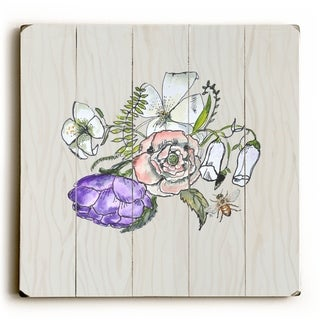 Blooms and Bee -   Planked Wood Wall Decor by Jennifer Rizzo Design
