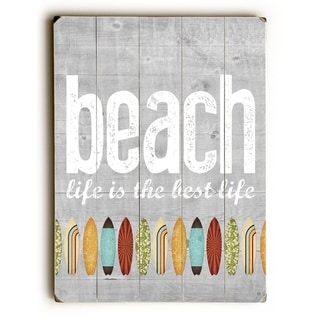 Beach Life - Gray  Planked Wood Wall Decor by