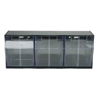 Mind Reader Multi Purpose Storage Tilt Drawer, 3 Compartment Removable Bins, Tip Out Clear Bins, Black