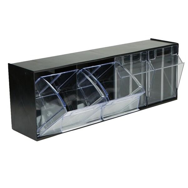 Mind Reader Multi Purpose Storage Tilt Drawer, 4 Compartment Removable Bins,  Tip Out Clear