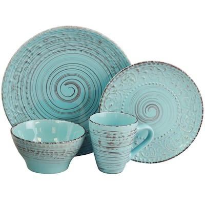 Elama Malibu Waves 16-Piece Dinnerware Set in Turquoise