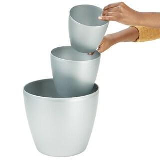 "Mind Reader 3 pc Office Set Bin Set - Desktop, Bath, & Floor trash Bin Set, Silver - 6"",8"",12"""