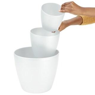 "Mind Reader 3 pc Office Set Bin Set - Desktop, Bath, & Floor trash Bin Set, White - 6"",8"",12"""