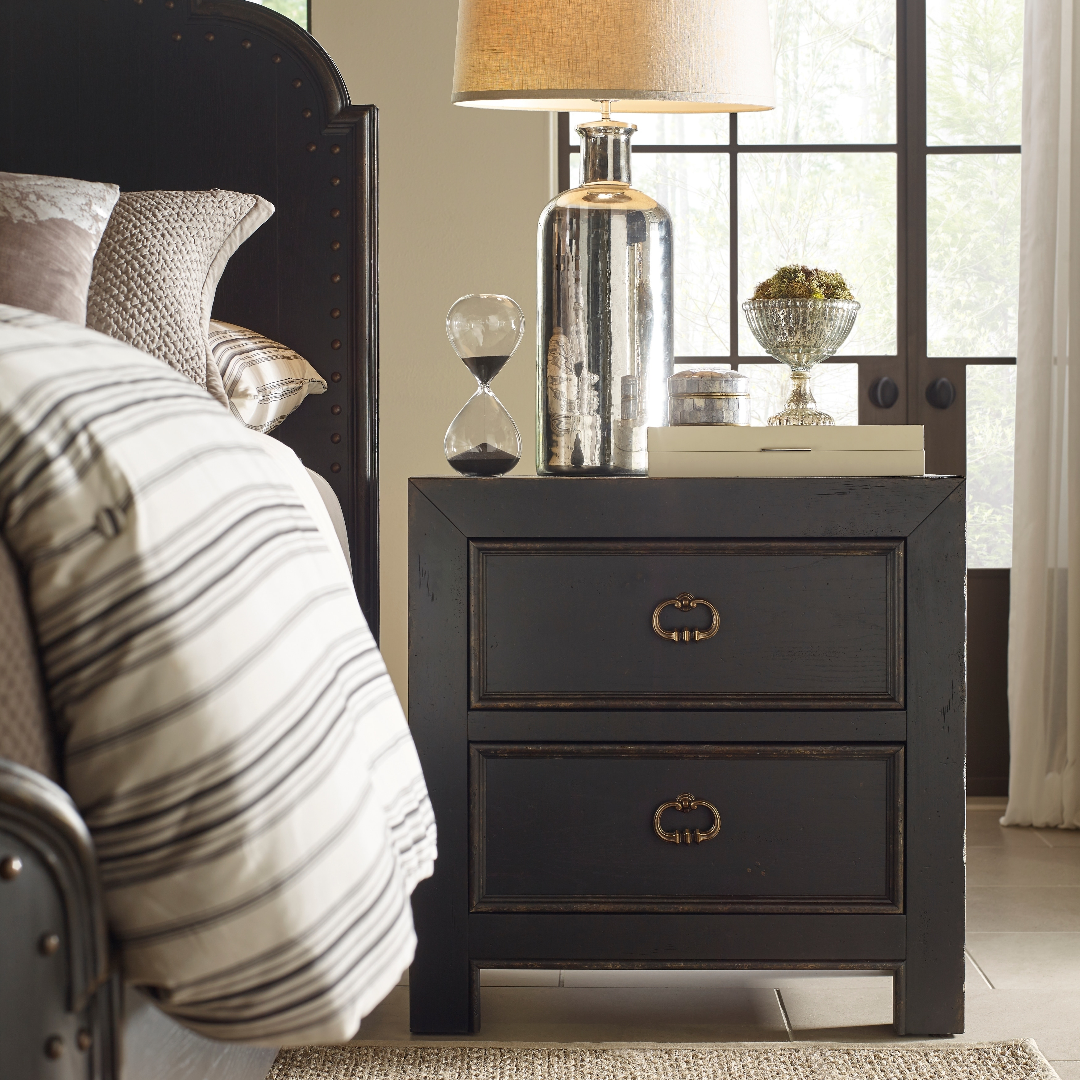Bishop Hills Traditional Rustic Kettle Black Nightstand