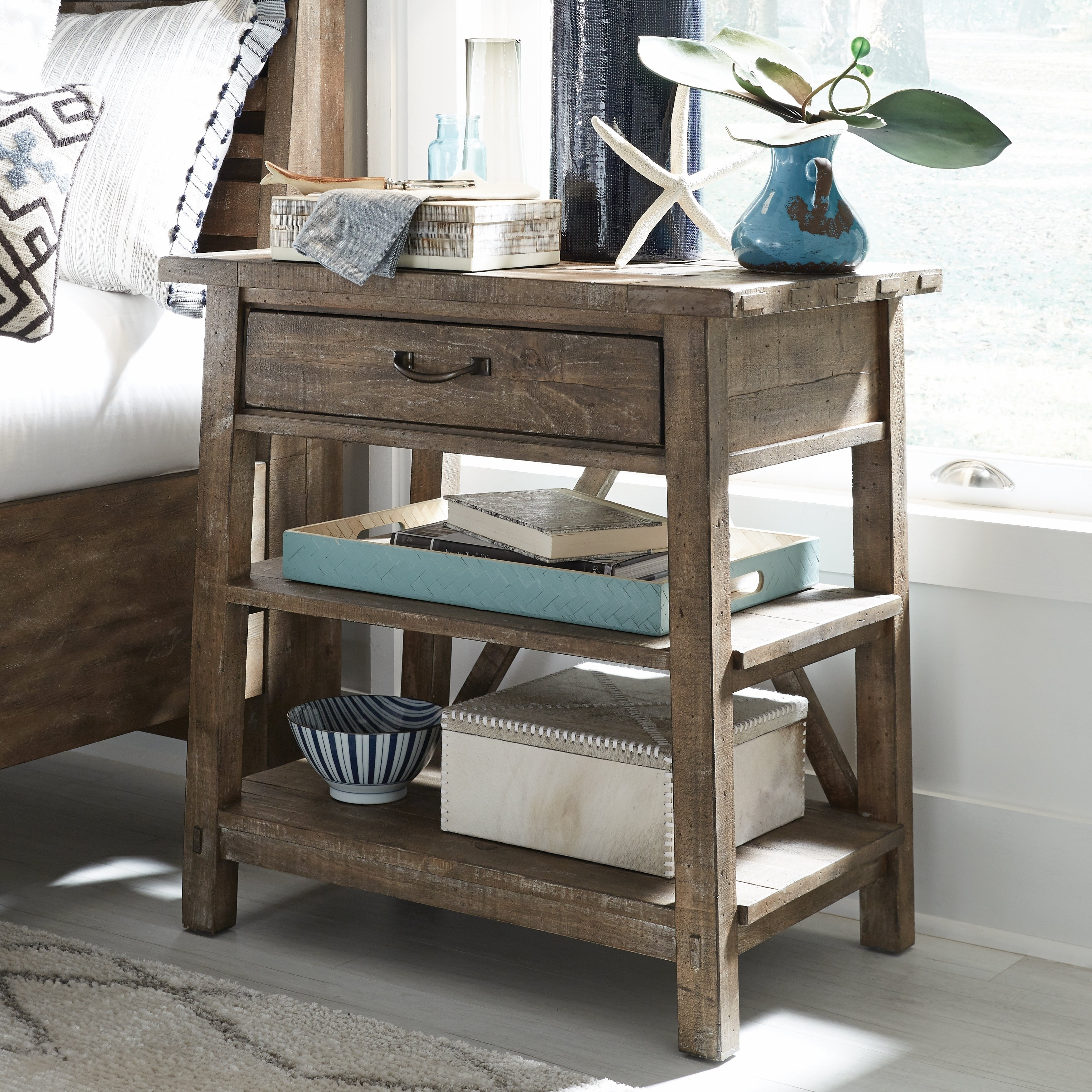 Bluff Heights Rustic Weathered Nutmeg Open Nightstand
