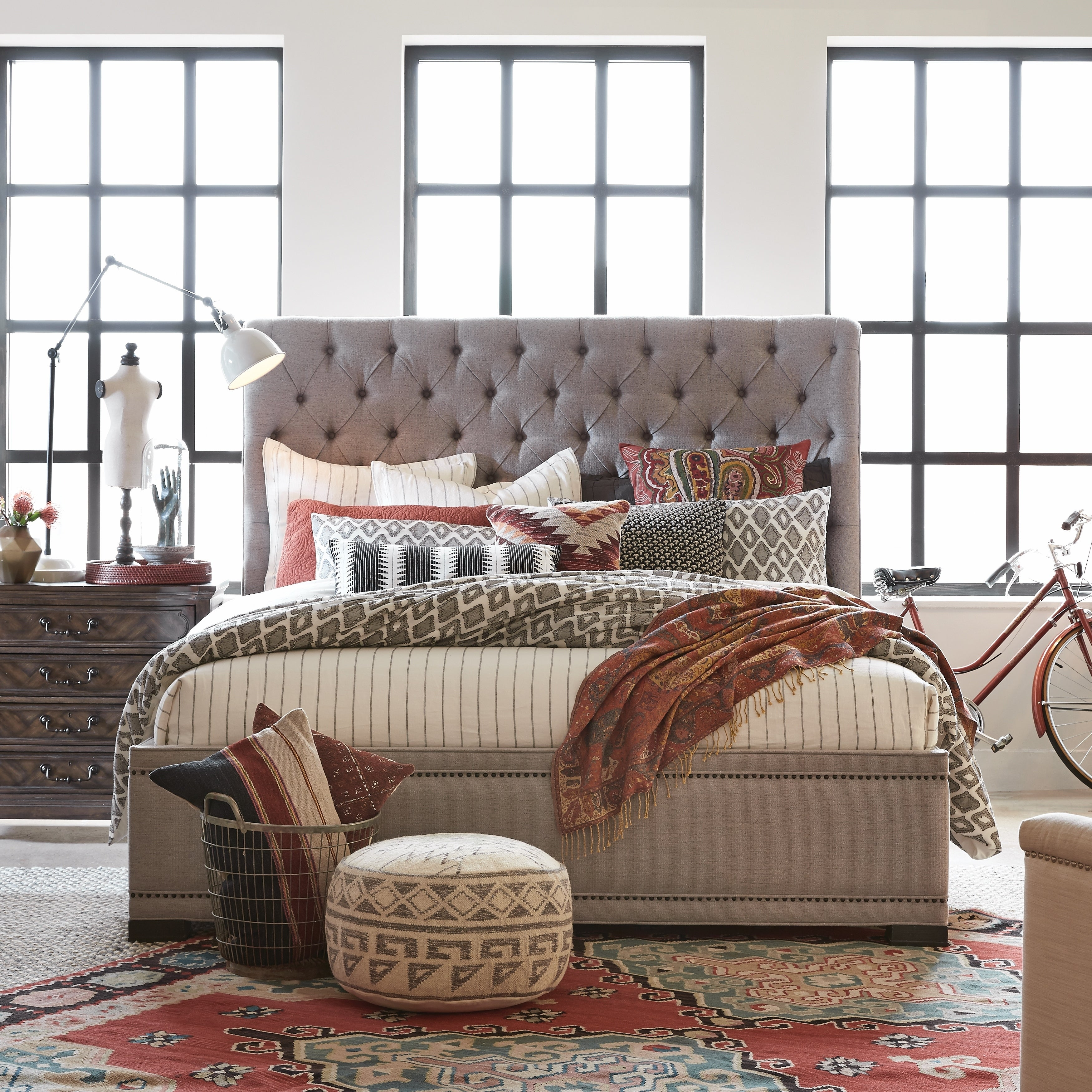 Hudson Square Traditional Queen Island Upholstered Bed