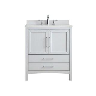 OVE Decors Joyce 30 in. Dove Grey Single Sink Vanity with Marble Top