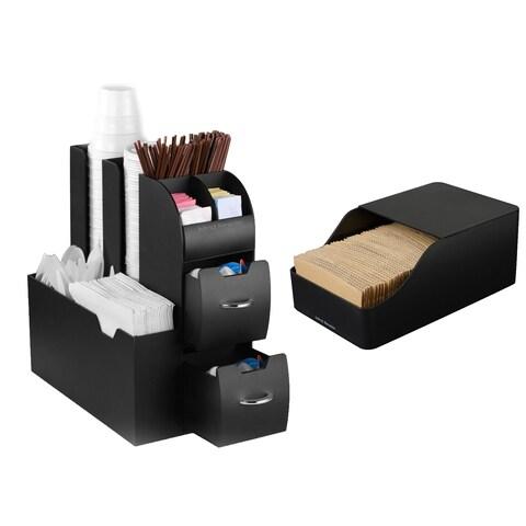 Mind Reader Coffee Condiment Organizer and Sleeve Dispenser Storage, Kitchen Top Space Saver, Black