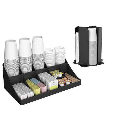 Mind Reader Cup and Lid Organizer and Breakroom and Coffee Condiment Organizer, 15 Compartment, Black