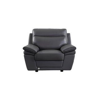 Cream Italian Leather Chair (Light Grey)