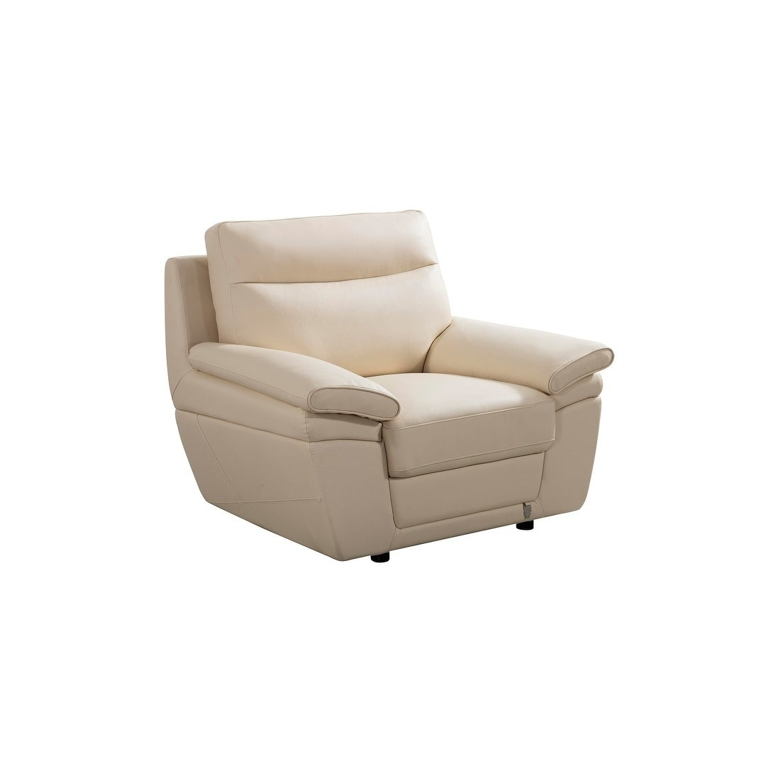 Cream Italian Leather Chair (Off-White)