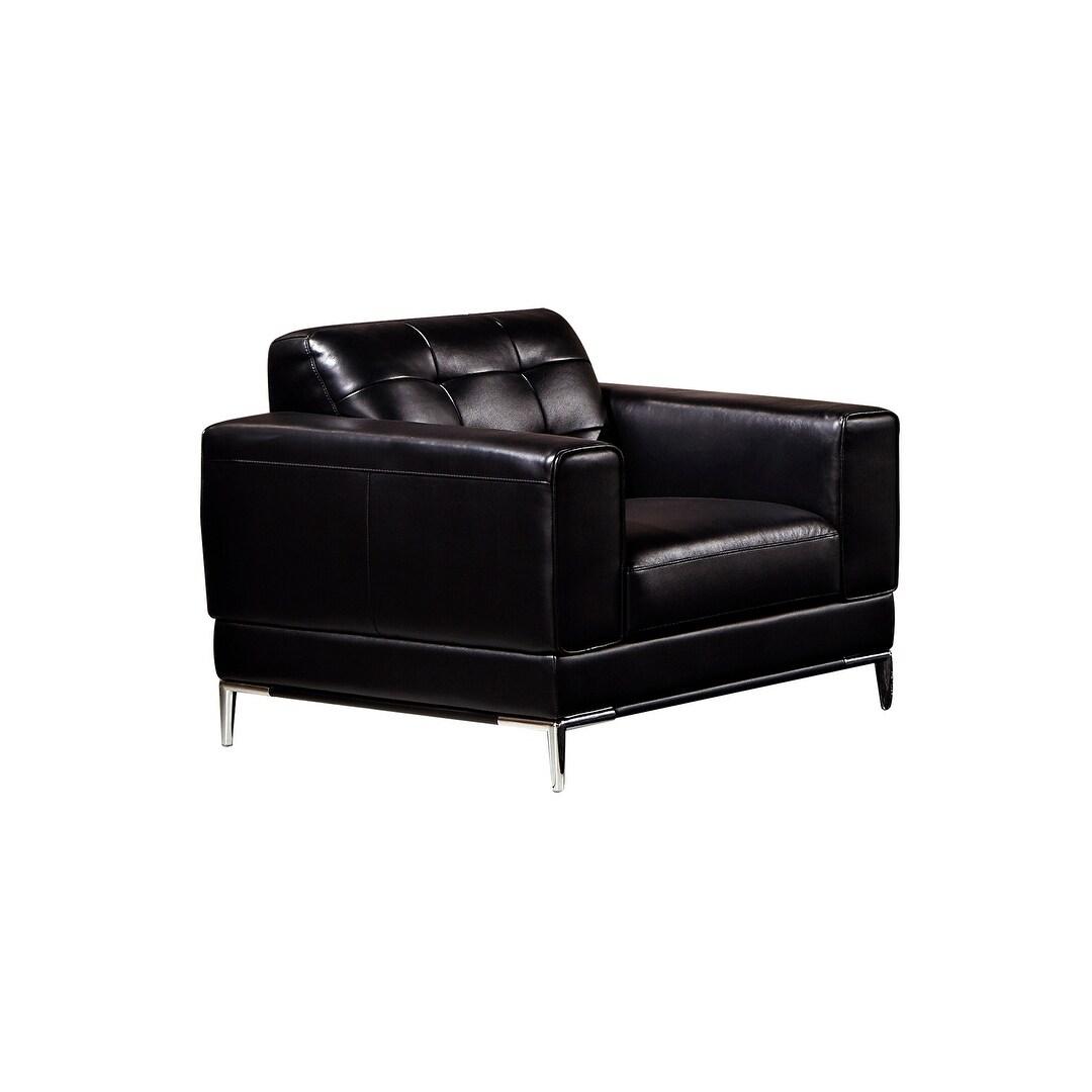Black Italian Leather Chair (White)