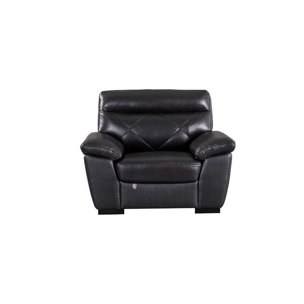 Modern Pillow Top Black Italian Leather Chair