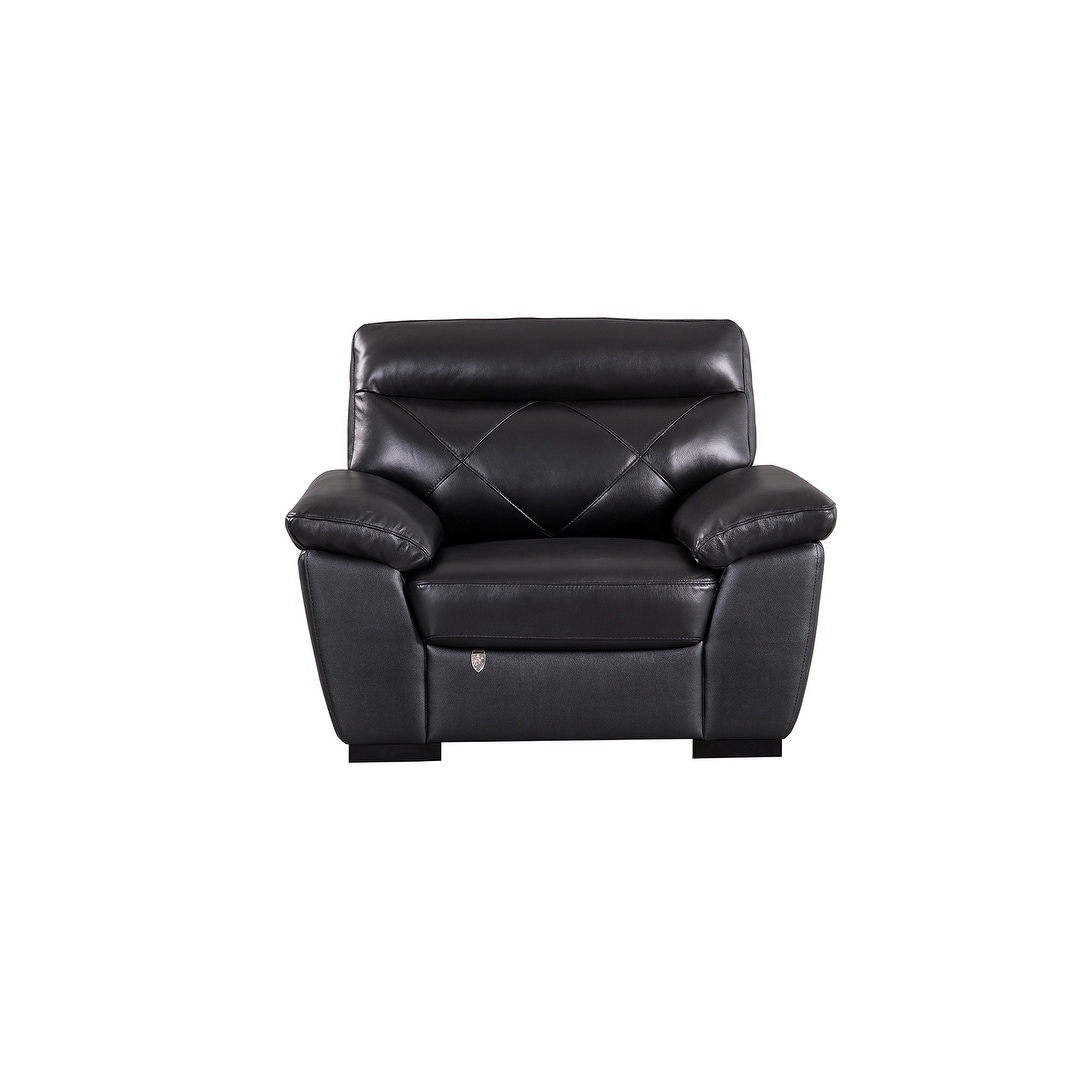 Modern Pillow Top Black Italian Leather Chair (Jet Black)