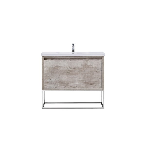 OVE Decors Ava Modern Burnt Oak 40-inch Vanity with Integrated Porcelain Sink