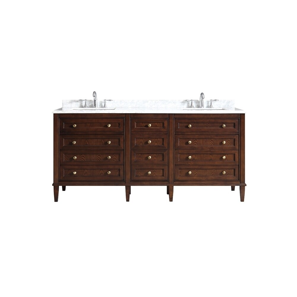 OVE Decors Castafiore 72 in. Java Brown Double Sink Vanity with Carrara Marble Top