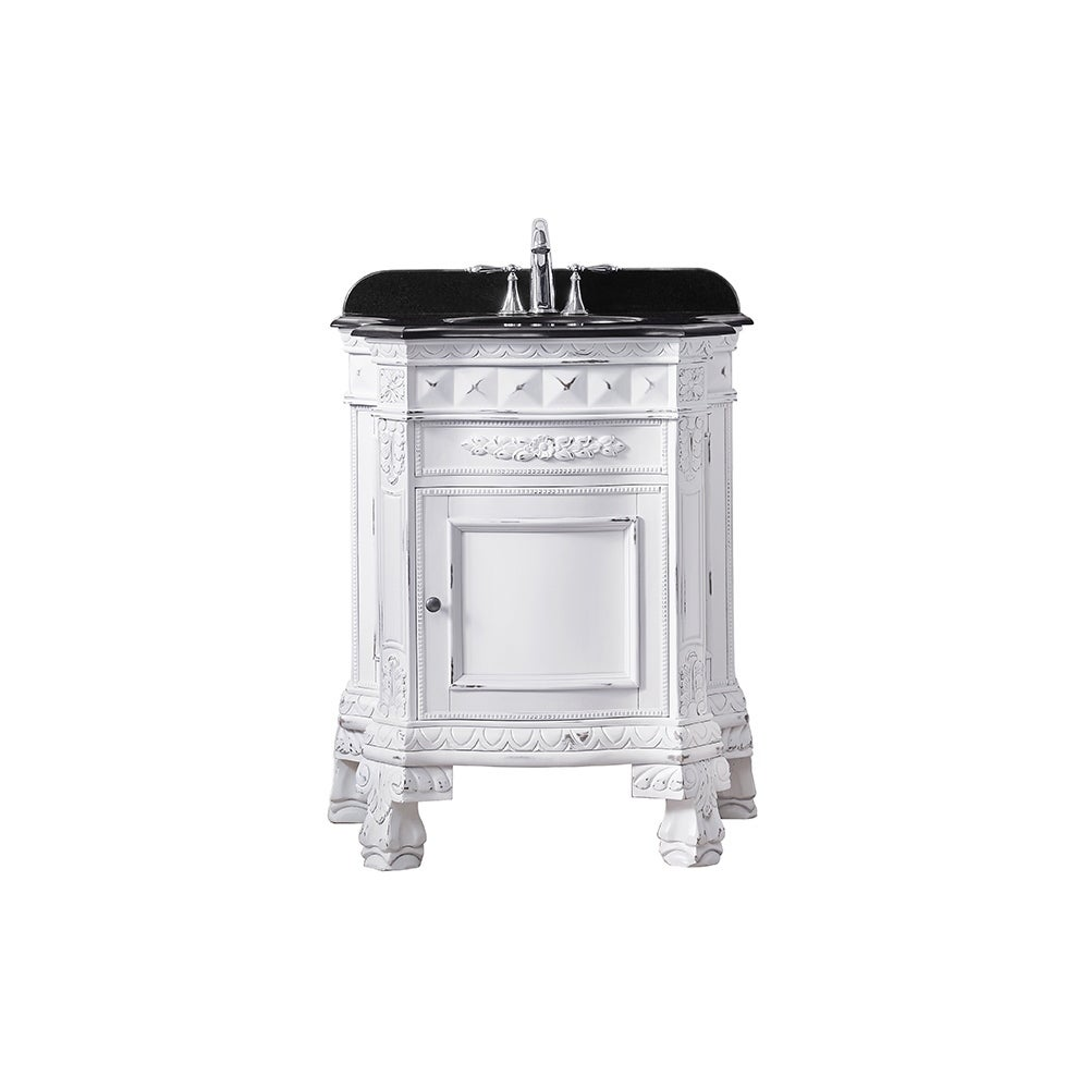 OVE Decors York 28 in. Antique White Single Sink Vanity with Black Granite Top