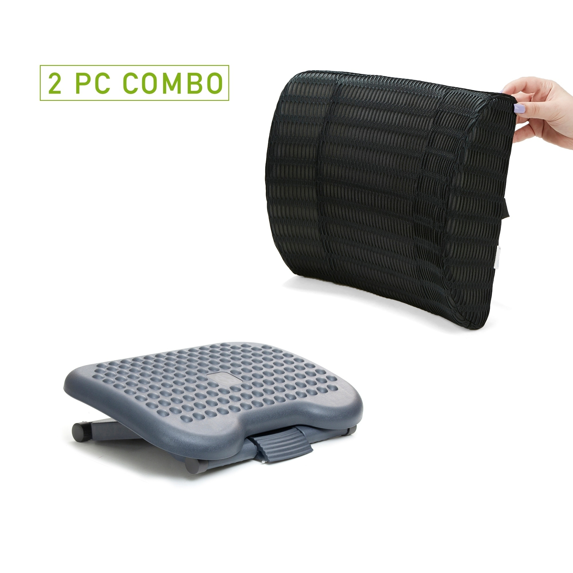 Mind Reader Memory Foam Lumbar Support Back Cushion with Mesh Cover for Back Pain Relief with Height Adjustable Foot Rest, Black