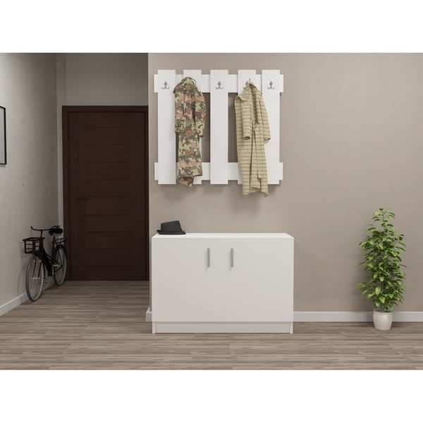 Shop Decorotika Garden Caot White Wood Hallway Coat Rack And Storage