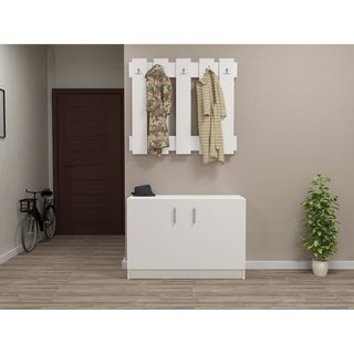 Decorotika Garden Caot White Wood Hallway Coat Rack and Storage Bench