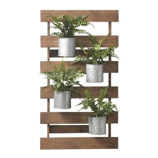 D&W Silks Wooden Slat Wall with Leather Fern in Tin Cans