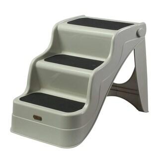 PawHut 3 Step Portable Folding Pet Stairs Ramp Easy Climb Step Stool With Anti-Slip Mat - Cream White