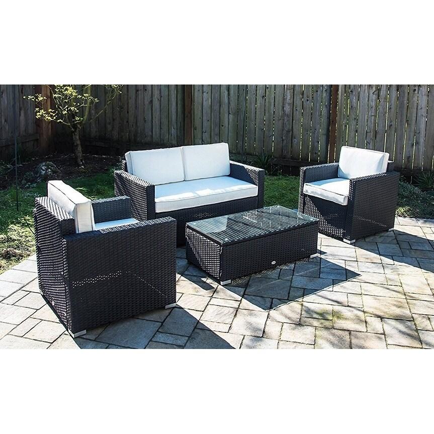 4 Piece Outdoor Rattan Wicker Sofa Sectional Patio Furniture Set