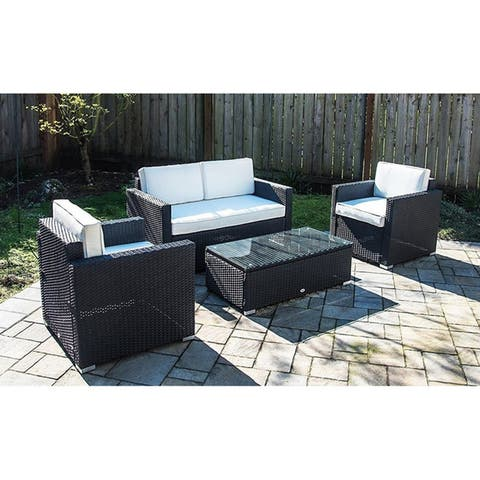4 Piece Outdoor Rattan Wicker Sofa Sectional Patio Furniture Set